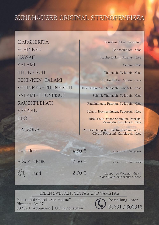 Pizza, Sundhausen, Angebot, Steinofen-Pizza, Nordhausen