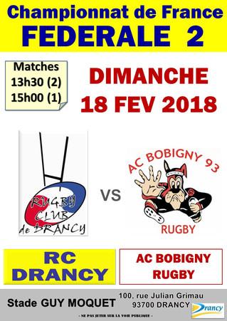 18/02/2018 - RC Drancy reçoit AC Bobigny ....