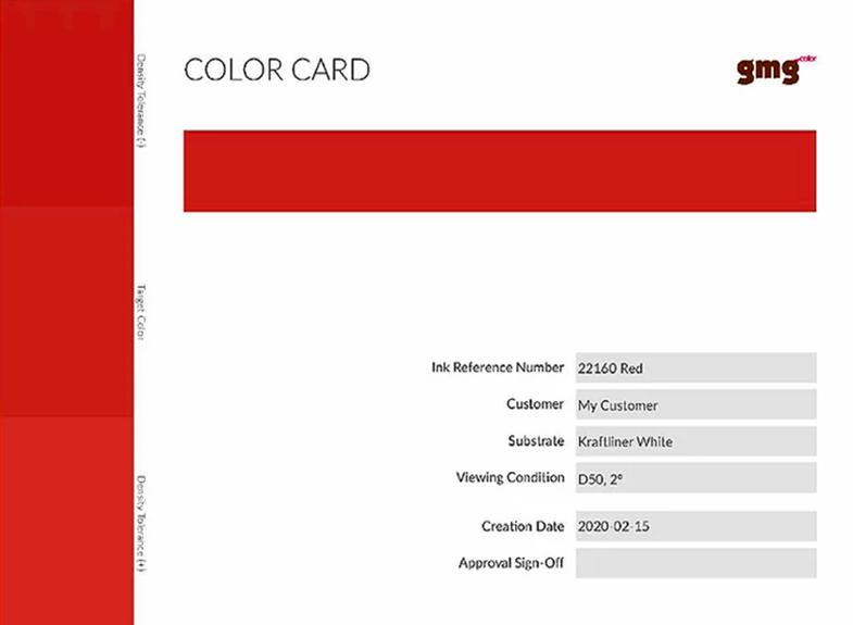 GMG colorcard densidades