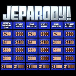JeParody questions board