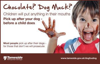 """Tameside borough council anti dog fouling poster with a young boy with a brown substance on his hands and face with the tag line """"Chocolate? Dog Muck? Children will put anything in their mouths"""""""