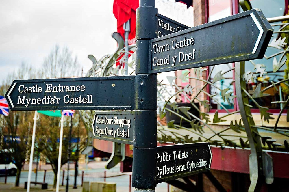 Caerphilly town sign post