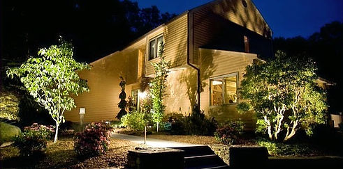 night time house lighting with CAST directional spotlights