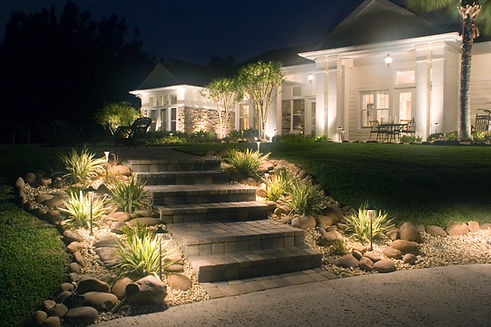 path lights in front yard and house lights