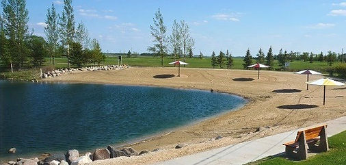 swim pond and beach in plum coulee manitoba