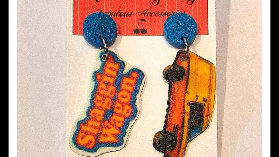 Shaggin Wagon Sandman Van Shrink Plastic Earrings