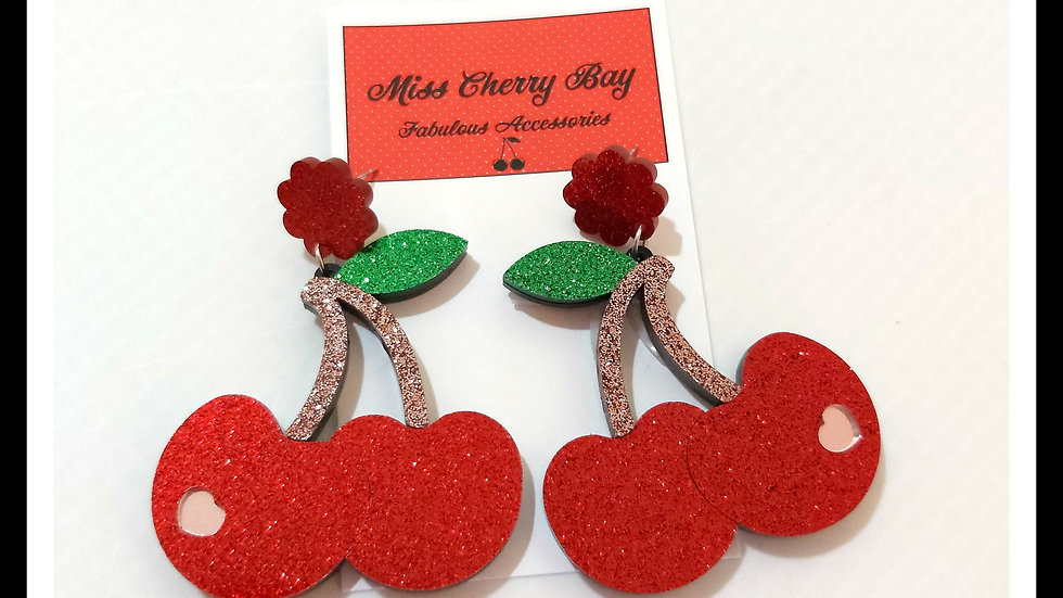 Devine Glitter Cherry Earrings