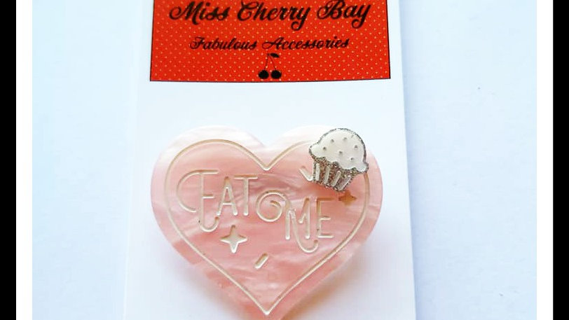 "Sweet ""Eat Me"" Heart & Cupcake Brooch"