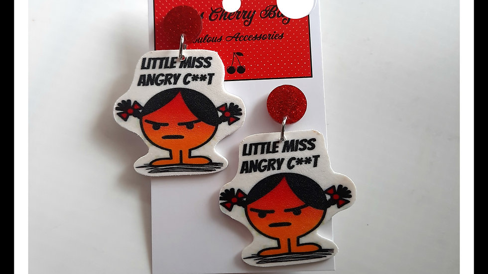 Little Miss Angry C**t Shrink Plastic Earrings
