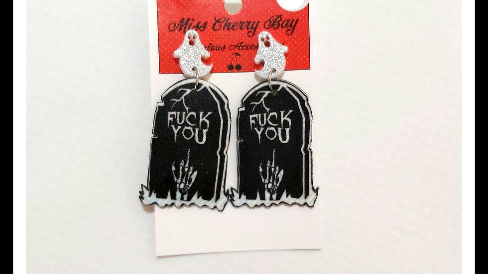 F**k you Gravestone Shrink Plastic earrings