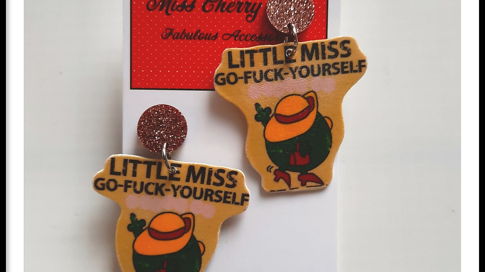 Little Miss Go F**k yourself Shrink Plastic earrings