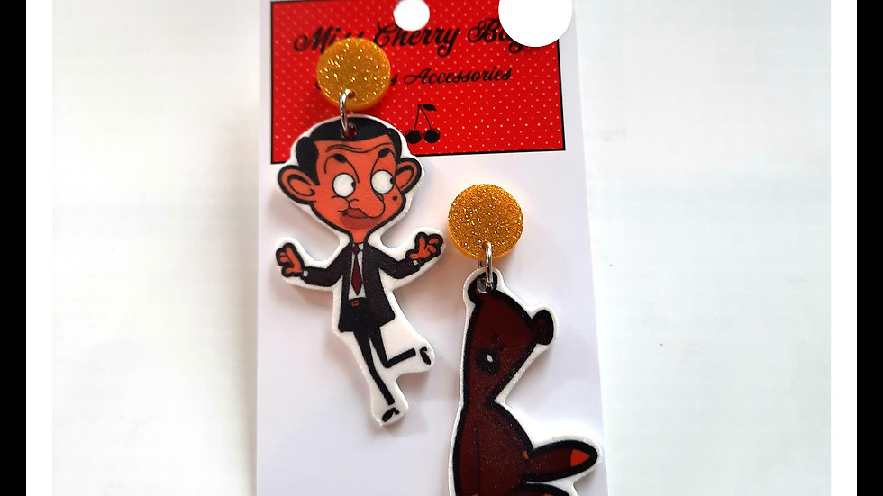 Mr Bean Shrink Plastic Earrings