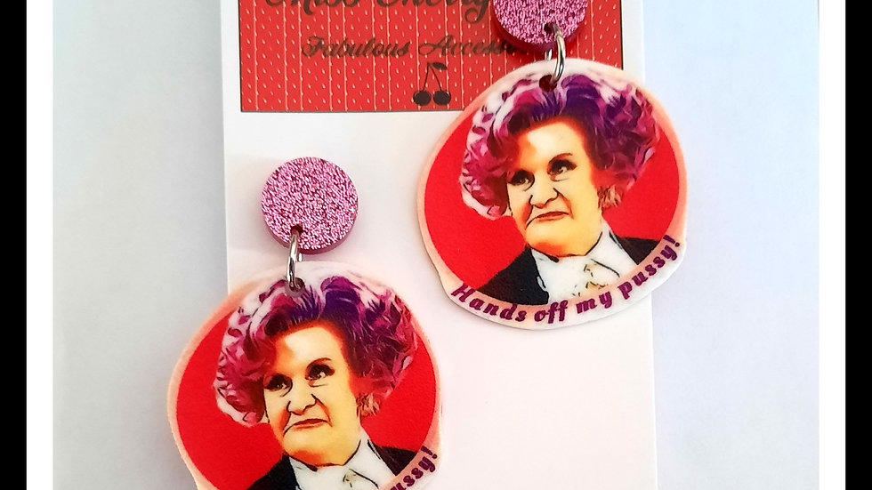 Hands Off My Pussy Shrink earrings