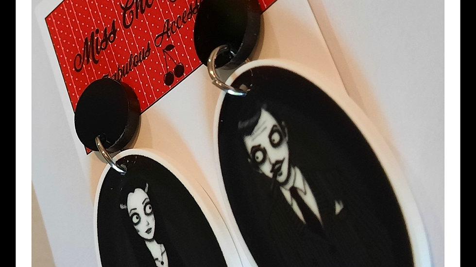 Gomez & Morticia Planar Resin Earrings