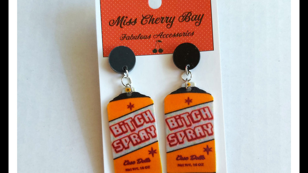 Bitch Spray Shrink Plastic Earrings
