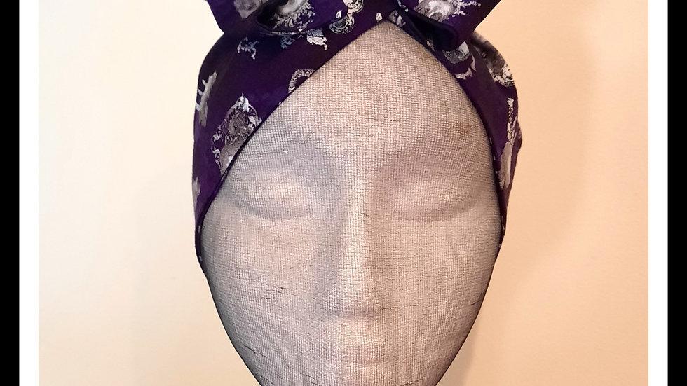 Purple Gothic print Rosie Hair Wraps