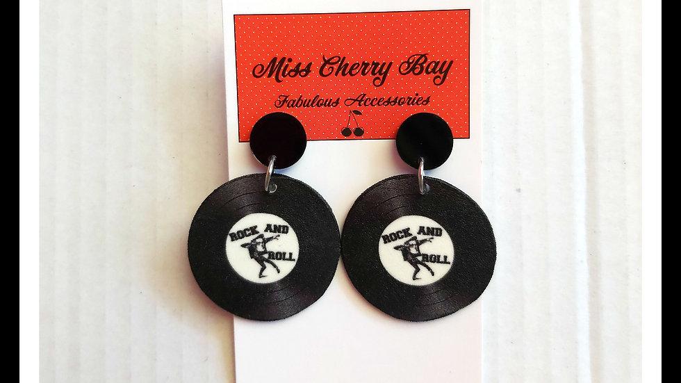 Rockabilly Record Shrink Plastic Earrings