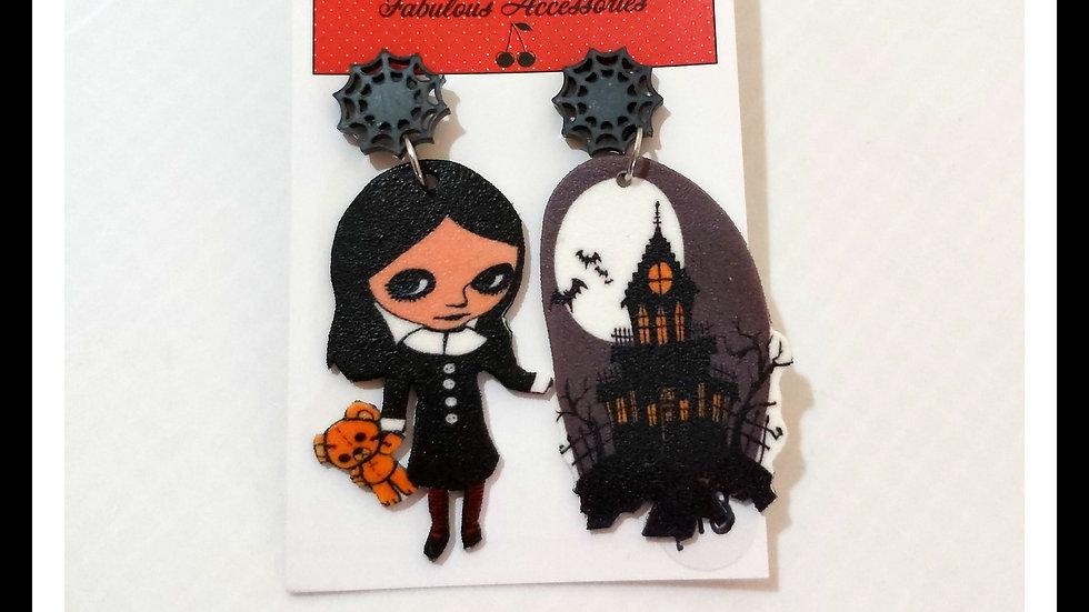 Spooky Lolita Shrink Plastic Earrings