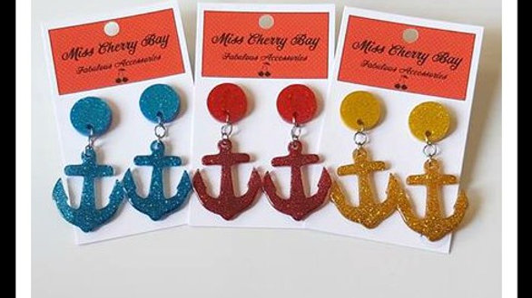 Rockabilly Anchor Earrings
