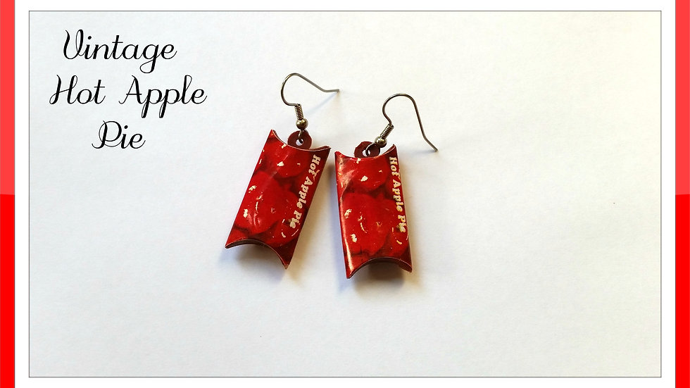 Vintage Apple Pie Token Earrings
