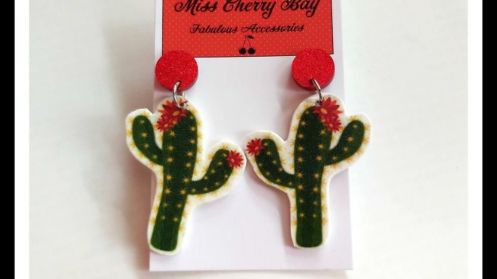 Funky Cactus Shrink Plastic Earrings