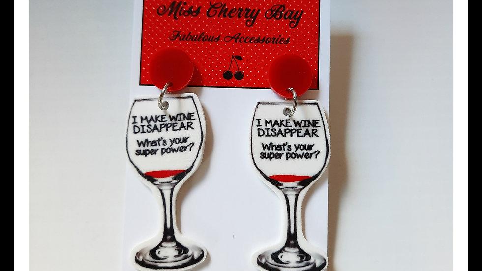 Wine Super Power Shrink Plastic Earrings