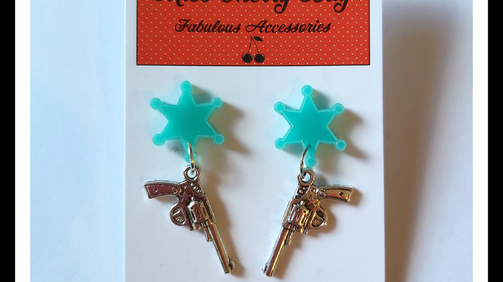 Giddy Up Cowgirl Sheriff Earrings