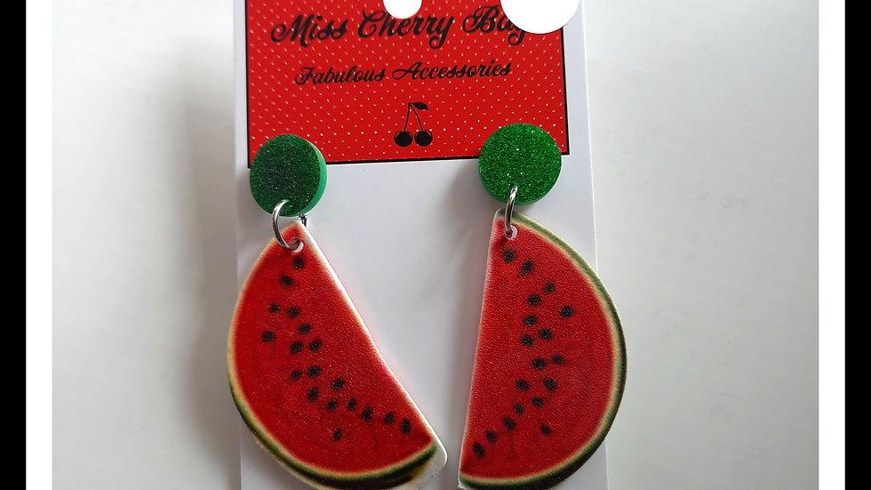 Watermelon Slice Shrink Plastic Earrings