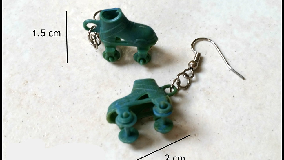Retro Roller Skate Token earrings