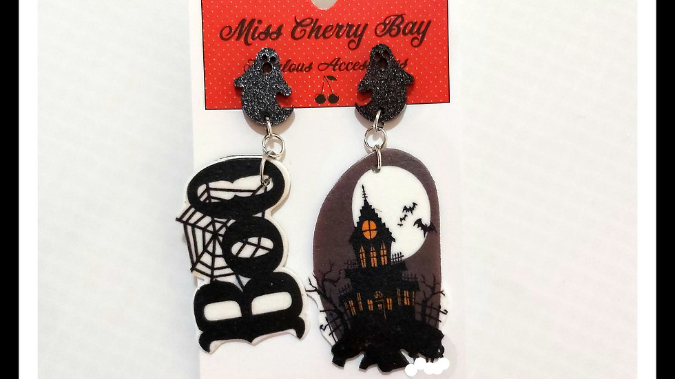 Boo Spooky Mansion Shrink Plastic Earrings