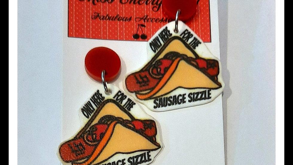 Sausage Sizzle Shrink Plastic Earrings