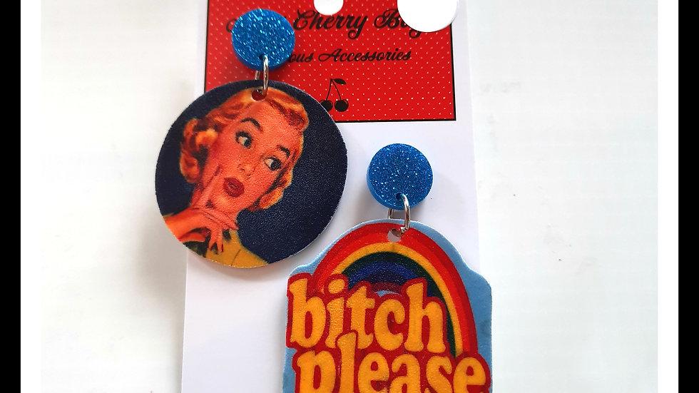 Bitch Please!! Shrink Plastic Earrings