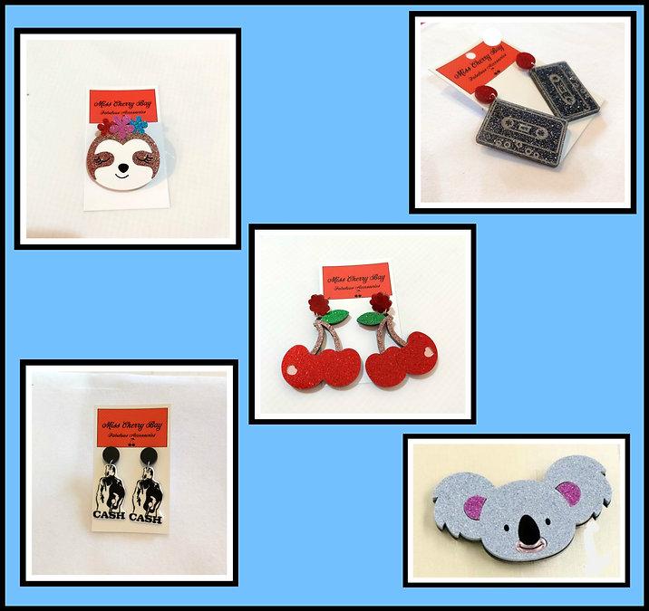 Acrylic Rockabilly Earrings & Brooches
