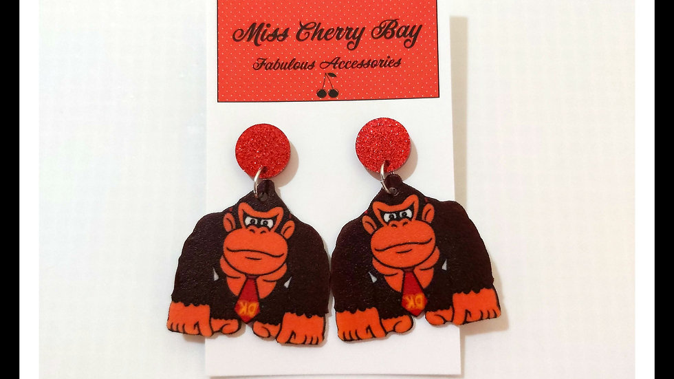 Donkey Kong Shrink Plastic earrings