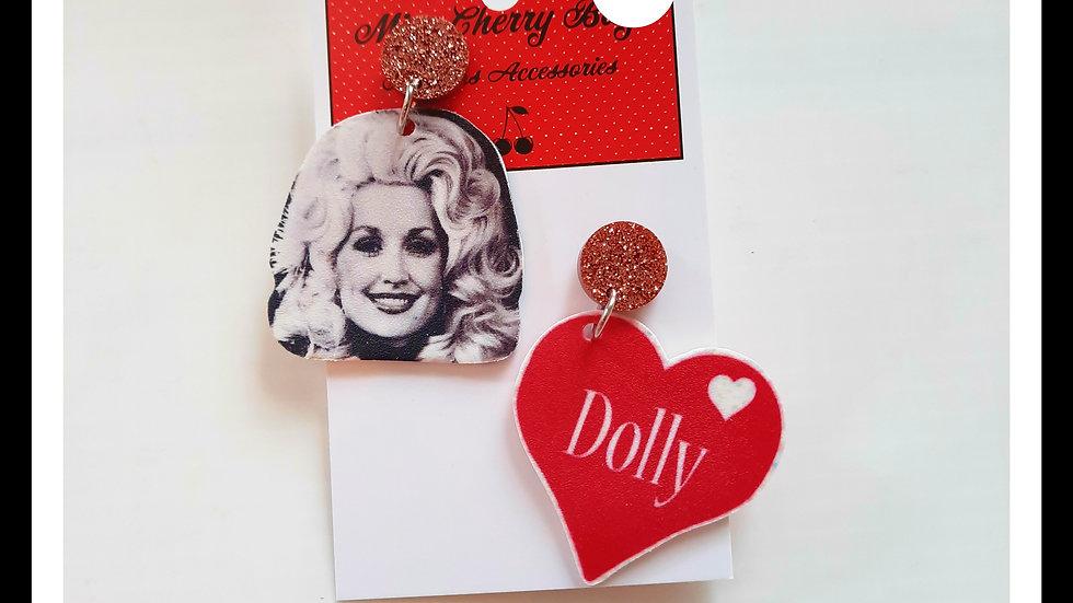 Dolly Parton Shrink Plastic Earrings