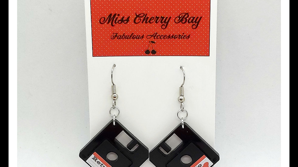 Retro Geek Floppy Disc Earrings