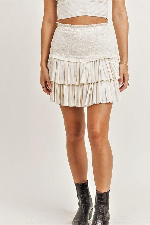 Silky Ruffle Skirt/Cream