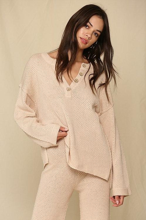 Almond knit button detail