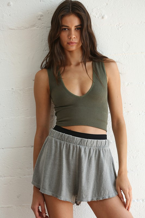 (155) Seamless Ribbed Plunged V neck Crop Tank Top