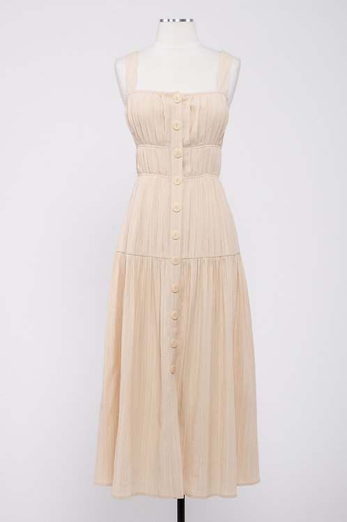 Moon River Cream Tiered Midi Dress