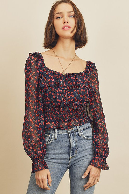 Floral Square-Neck Ruffle Blouse