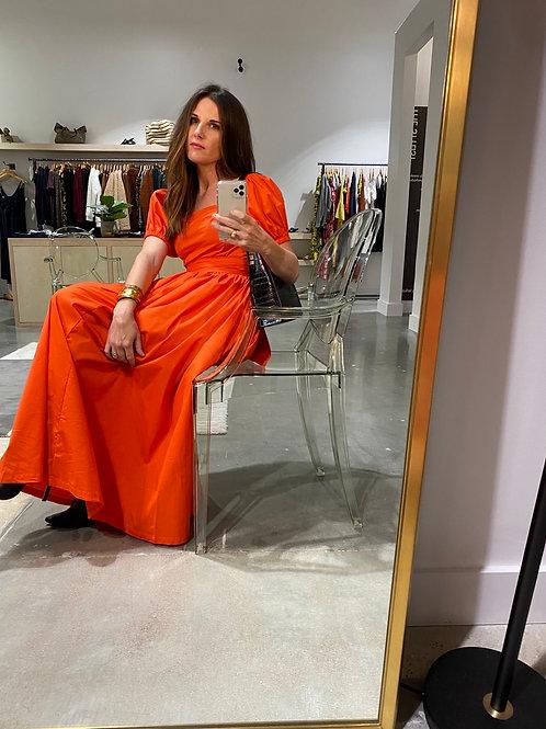 Glamorous- Red Orange Puff Sleeve