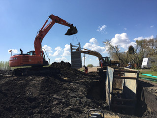 Water and Sewer Division putting in 1500 meters of 200mm sanitary line in Josephburg, AB