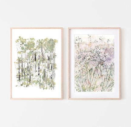 DUO PRINTS | BIRCH TREE & MEADOW