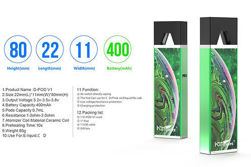 KANGVAPE D Pod V1 Pod Vape Kit 650mAh Battery 0.7ml Ceramic Coil Pod Cartridge F