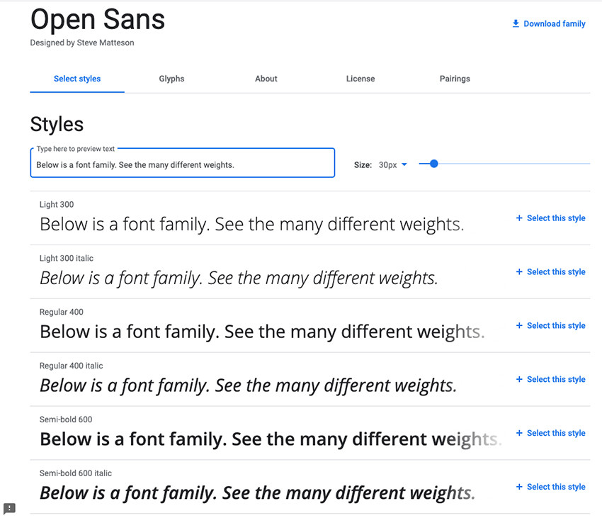 Font Style and Family From Fonts.Google.com
