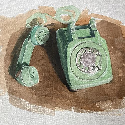"""green rotary phone"""