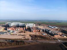Dronefoto af Aalborgs nye Supersygehus