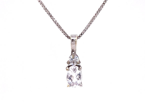 STERLING SILVER CREATED SAPPHIRE AND CZ PENDANT