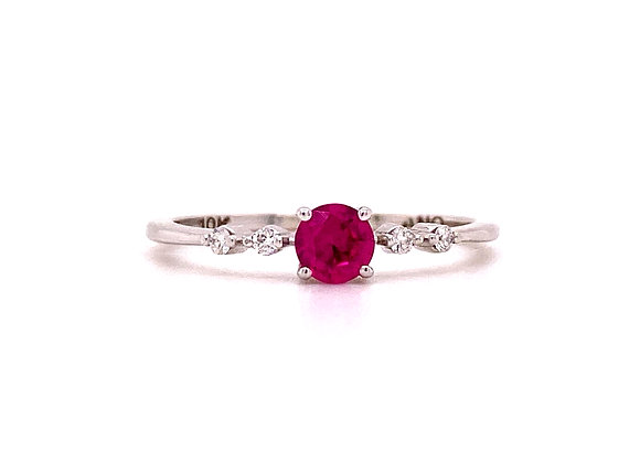 10KT WHITE GOLD LAB RUBY AND DIAMOND RING